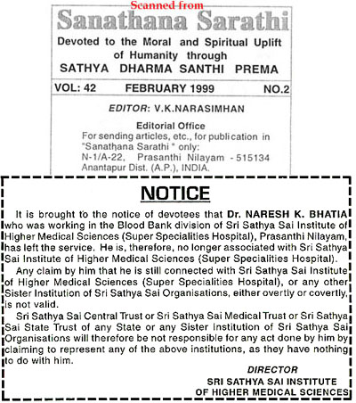 Dr. N. Bhatia exclusion notice from Sanathana Sarathi