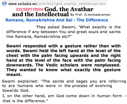 Quotation from G. Venkataraman article of God as Avathaar