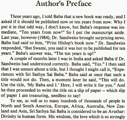 Dr. J. Hislop -preface to 'My Baba and I'