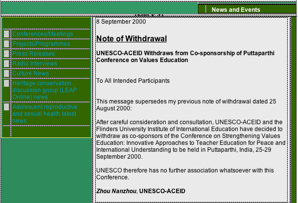 UNESCO MEDIA ADVISORY on their withdrawal from the Sathya Sai Baba Educational Conference in 2000