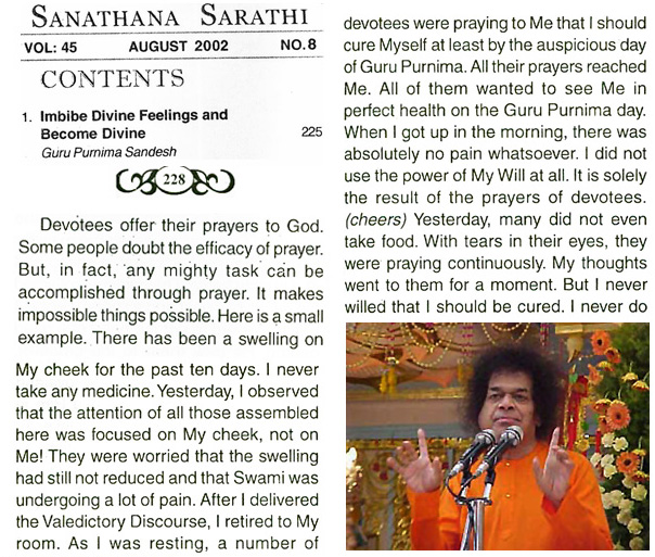 Saui Baba on devotees' prayers to cure him