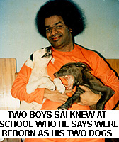 Sathya Sai Baba with the dogs Jack and Jill - reborn boys