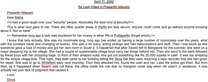 Independent report on murder of Swiss lady in Prashanthi Nilayam, 2002