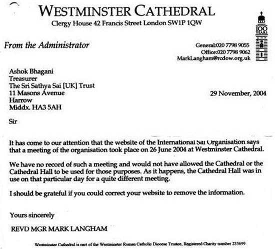 Westminster Cathedral rebuttal of Sai Organization's claim