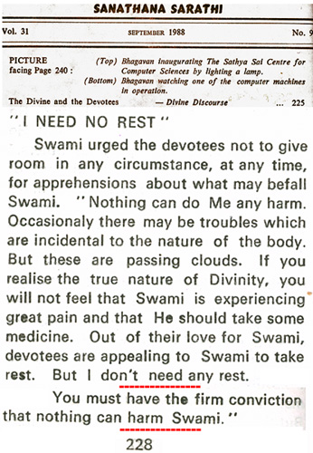 Sathya Sai Baba statement in 1988