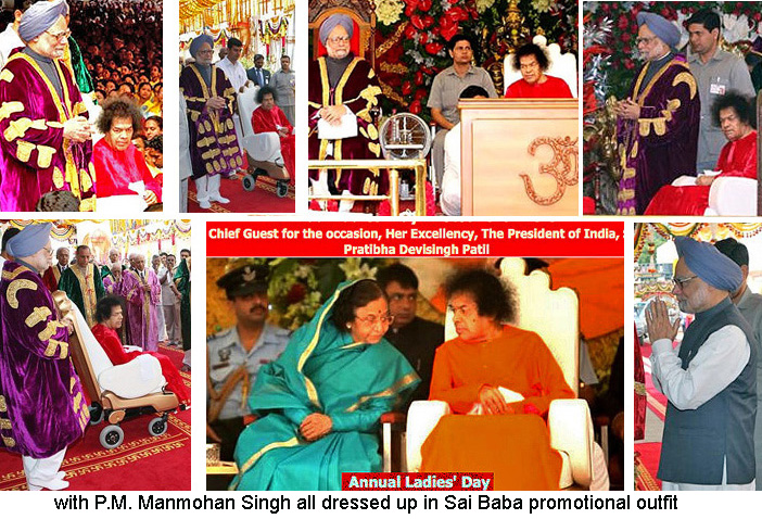 Indian Prime Minister and President at Sathya Sai Baba's 85th birthday celebrations