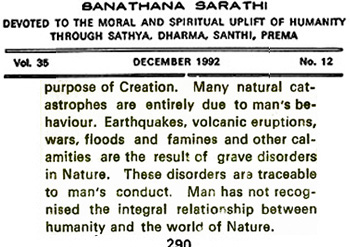 Sathya Sai Baba on calamaties and their cause