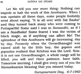 Sai Baba promised to life a range of mountains - more than Krishna who was said to have lifted on mountain, Govardhana