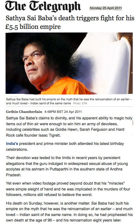 The Telegraph Sai Baba obituary