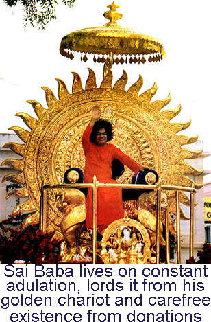 Sai Baba on his Golden Chariot