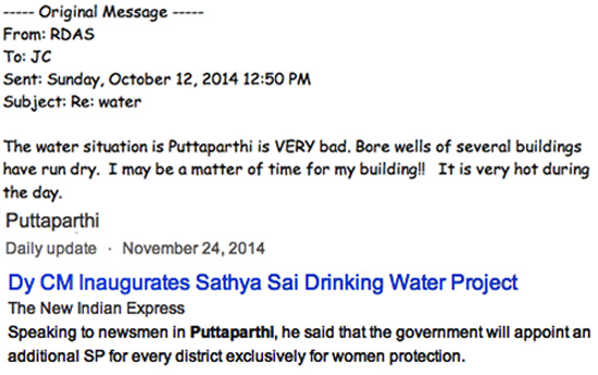 Sai Baba Water project failed 2014